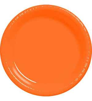 Orange Plastic Plate 10.25in 20ct